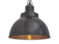 Brooklyn Dome Pendant - 13 Inch - Pewter & Copper
